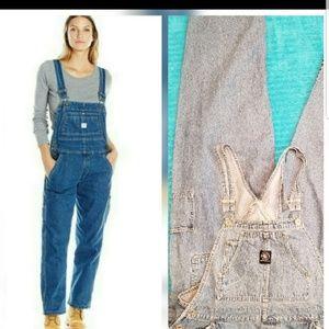 Vintage denim bib overalls size Large amish boho